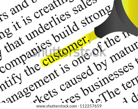 High resolution concept or conceptual abstract black text isolated on white paper background with yellow marker as a metaphor for customer,target,marketing,client,service,strategy,business or consumer - stock photo
