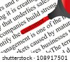 High resolution concept or conceptual abstract black text isolated on white paper background with a red marker as a metaphor for customer,target,marketing,client,service,strategy,business or consumer - stock photo