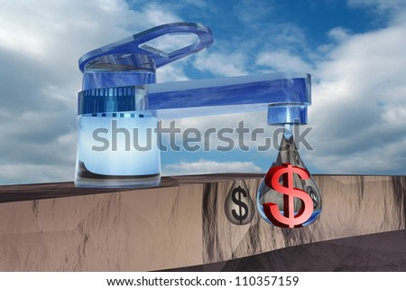High resolution concept or conceptual abstract tap with drop falling over blue sky background as metaphor for money,dollar,crisis ,finance,economy,waste,banking,business,loss,source,wealth or rich - stock photo