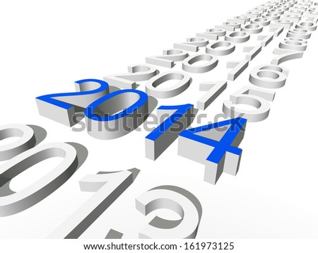 High resolution concept or conceptual 3D blue 2014 year isolated on white background as metaphor to holiday,symbol,Christmas,calendar,happy,eve,December,January,time,season,new year or winter graphic - stock photo