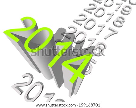 High resolution concept or conceptual 3D green 2014 year isolated on white background as metaphor to holiday,symbol,Christmas,calendar,happy,eve,December,January,time,season,new year or winter graphic - stock photo