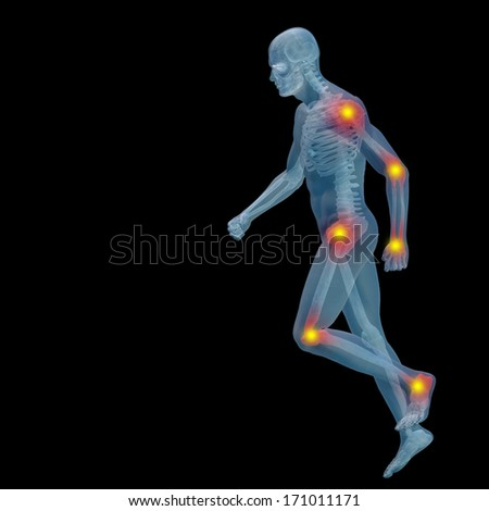High resolution concept or conceptual 3D human anatomy body with pain isolated on black background as a metaphor to health,medicine,medical, biology,osteoporosis, arthritis,joint, inflammation or ache