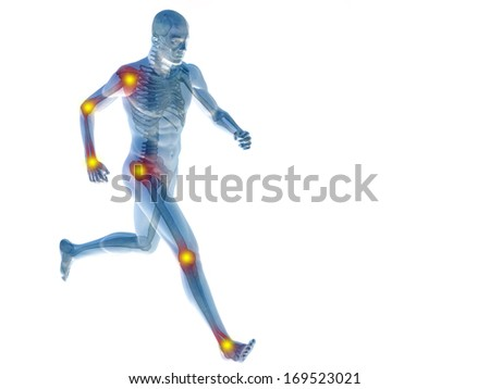 High resolution concept or conceptual 3D human anatomy body with pain isolated on white background as a metaphor to health,medicine,medical,biology,osteoporosis,arthritis,joint,inflammation or ache - stock photo