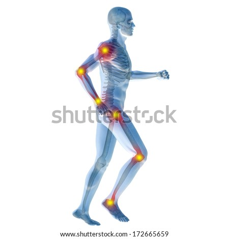 High resolution concept or conceptual 3D human anatomy body with pain isolated on white background as a metaphor to health, medicine, medical, biology,osteoporosis,arthritis,joint,inflammation or ache - stock photo