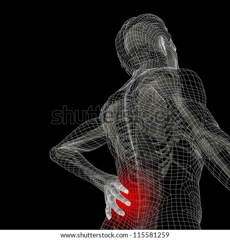 High resolution concept or conceptual 3d human male or man anatomy isolated on black background as metaphor to pain,back,body,spine,backache,medical, injury,medicine,health,hurt,painful,spinal therapy - stock photo