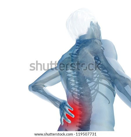 High resolution concept or conceptual 3d human male or man anatomy isolated on white background as metaphor to pain,back,body,spine,backache,medical, injury,medicine,health,hurt,painful,spinal therapy - stock photo