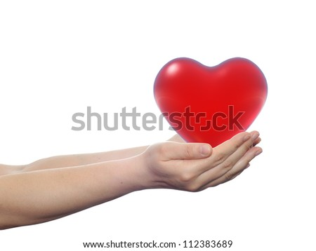 High resolution concept or conceptual 3D red glass heart held in hands by a woman isolated on white background for date,emotion,love,valentine,wedding,feeling,gift,care,passion,protect or relation - stock photo