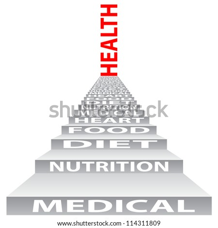 High resolution concept or conceptual 3D stair or steps isolated on white background as a metaphor for health, nutrition,diet,wellness,body or energy. Also good for medical,sport,heart or science - stock photo