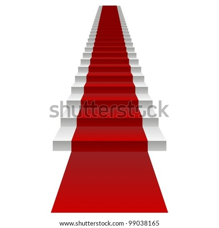 High resolution concept or conceptual 3D white stair and red carpet isolated on white background, for business,progress,growth,career,success,development,faith,religion or vision designs - stock photo