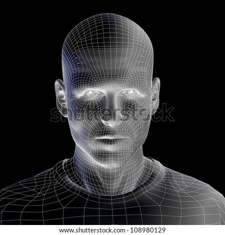 High resolution concept or conceptual 3D wireframe human male head isolated on black background as metaphor for technology,cyborg,digital,virtual,avatar,model,science,fiction,future,mesh or abstract - stock photo