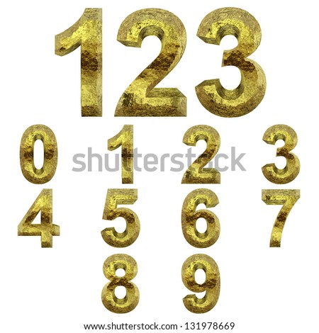 High resolution concept or conceptual 3D yellow shiny gold golden metal font set or collection isolated on white background, metaphor to luxury,rich,money,decoration,expensive,modern,art,retro,vintage - stock photo