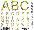 High resolution concept or conceptual fonts set,group or collection made of Easter eggs isolated on white background,for spring,holiday,art,festive,happy,cute,funny,religion,ornament or faith designs - stock photo