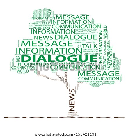 High resolution concept or conceptual green tree word cloud on white background, metaphor for world,news,communication,speech,message,mail,relation,dialog,talk,report,contact,email, internet wordcloud - stock photo