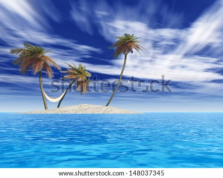 High resolution concept or conceptual isolated exotic island with palm trees with a hammock and sand in the sea or ocean over blue sky background with white clouds for tropical,hot,vacation or tourism