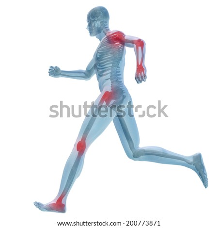 High resolution concept or conceptual man anatomy illustration with pain or ache isolated on white background - stock photo