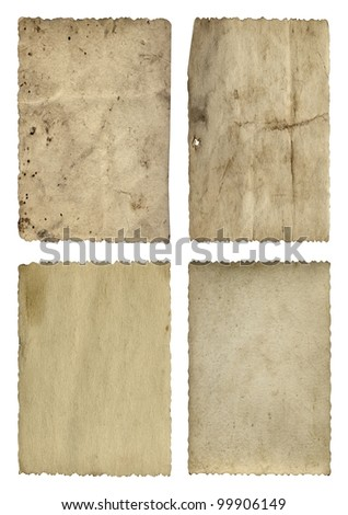 High resolution concept or conceptual old vintage paper backgrounds set or collection isolated on white, ideal for antique,grunge,texture,retro,aged,ancient,dirty,frame,manuscript or material designs - stock photo