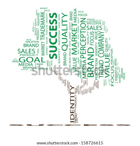 High resolution concept or conceptual tree word cloud on white background, metaphor for business,brand,goal, trend,media,focus,market,value,product,advertising or customer.Also for corporate wordcloud - stock photo