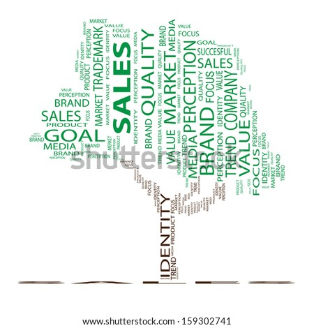 High resolution concept or conceptual tree word cloud on white background, metaphor for business,sale, brand,trend,media,focus,market,value,product,advertising or customer.Also for corporate wordcloud - stock photo