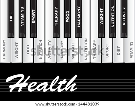 High resolution concept or conceptual white text word cloud tagcloud as piano keys isolated on white background as metaphor for health,nutrition,diet,wellness,body,energy,medical,sport,heart science - stock photo