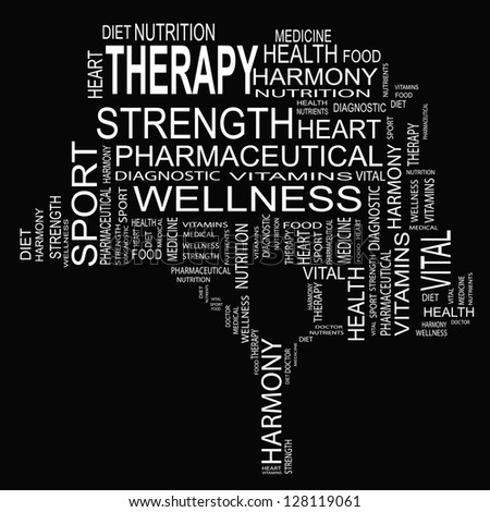 High resolution concept or conceptual white text wordcloud or tagcloud as a tree isolated on white background as metaphor for health,nutrition,diet,wellness,body,energyf,medical,sport,heart or science - stock photo