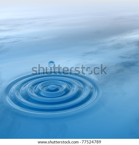 High resolution conceptual blue water drop falling, generating a natural background - stock photo
