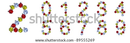 High resolution conceptual Christmas font isolated on white background , made of red,yellow and blue globes, ideal for Christmas,holiday,religion designs. It is a set, group or collection of numbers
