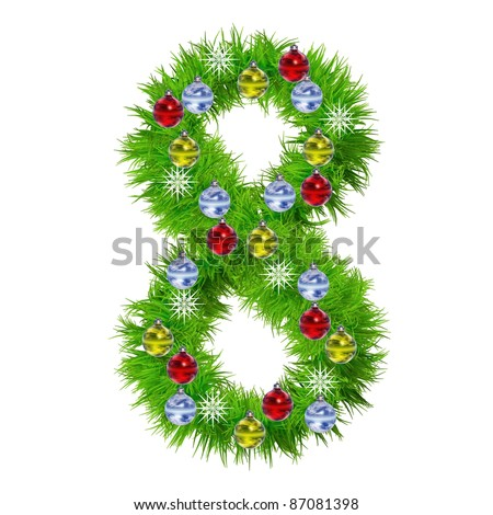 Snowflake christmas number stock images royalty free for Red and yellow christmas tree