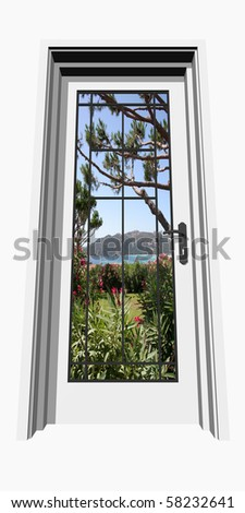 High resolution conceptual closed door in front of a beautiful natural landscape
