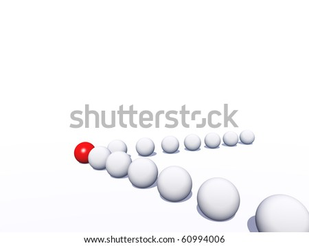 High resolution conceptual crowd of spheres with one different sphere as leader