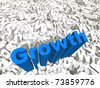 High resolution conceptual 3D blue text on a background of white texts as a crowd. The text says growth, ideal for business designs. - stock photo