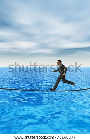 High resolution conceptual 3D businessman running on a rope above the sea. The man is a render of a virtual 3D model