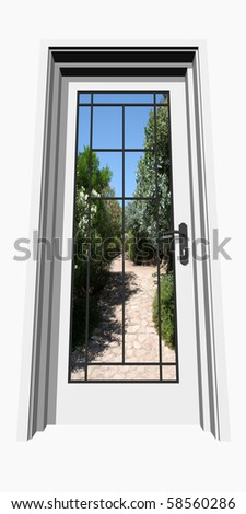 High resolution conceptual 3D closed door isolated on white