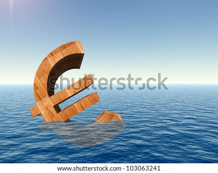 High resolution conceptual 3D currency euro sign or simbol sinking in water,sea or ocean as a concept for European crisis. It is a metaphor for financial,banking, economy,problem,danger or risk design - stock photo