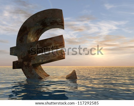 High resolution conceptual 3D currency euro sign or symbol sinking in water,sea or ocean as a concept for European crisis. It is a metaphor for financial,banking, economy,problem,danger,risk at sunset - stock photo