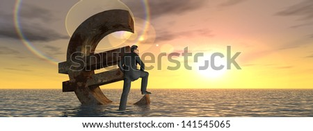 High resolution conceptual 3D currency euro symbol sinking in water banner,sea or ocean,a concept for European crisis.A metaphor for financial,banking,businessman,economy,problem,danger,risk at sunset - stock photo
