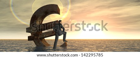 High resolution conceptual 3D currency euro symbol sinking in water,sea or ocean,a concept for European crisis.A metaphor for financial,banking,businessman,economy,problem,danger,risk at sunset banner - stock photo