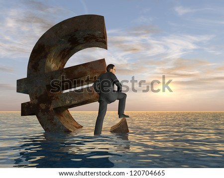 High resolution conceptual 3D currency euro symbol sinking in water,sea or ocean as a concept for European crisis. - stock photo