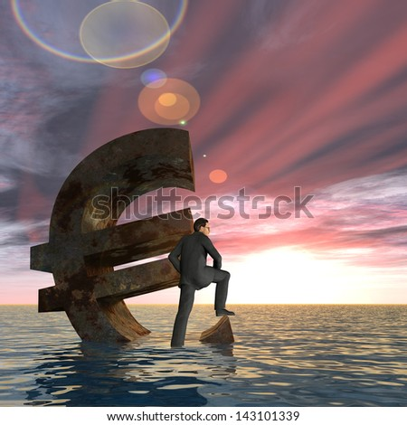 High resolution conceptual 3D currency euro symbol sinking in water,sea or ocean as a concept for European crisis.A metaphor for financial,banking,businessman,economy,problem,danger,risk at sunset - stock photo