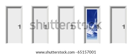 High resolution conceptual 3d doors in a row with one different, ideal for conceptual designs - stock photo