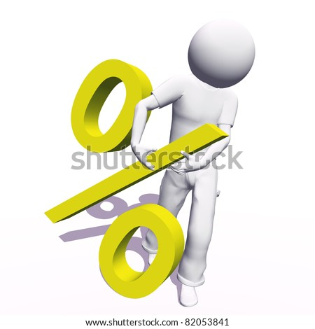 High resolution conceptual 3D human carrying a blue percent symbol, isolated on white background.It is a metaphor ideal for business or banking design - stock photo
