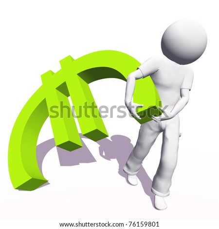High resolution conceptual 3D human carrying a green euro symbol, isolated on white background.It is a metaphor ideal for business or banking design - stock photo