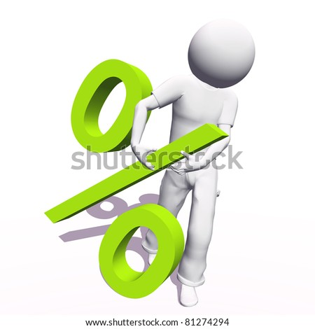 High resolution conceptual 3D human carrying a green percent symbol, isolated on white background.It is a metaphor ideal for business or banking design - stock photo