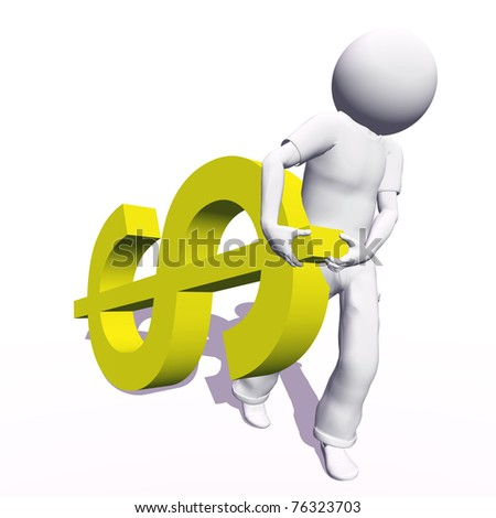 High resolution conceptual 3D human carrying a yellow dollar symbol, isolated on white background.It is a metaphor ideal for business or banking design - stock photo