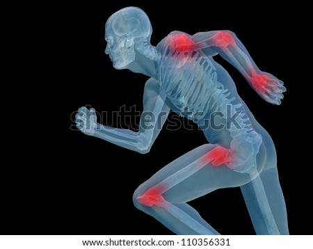High resolution conceptual 3D human for anatomy,medicine and health designs, isolated on black background. A man made of a skeleton and a transparent blue body as in a x-ray with red painful hotspots - stock photo