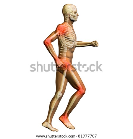 High resolution conceptual 3D human for anatomy,medicine and health designs, isolated on white background. A man made of a skeleton and a transparent body as in a x-ray with red painful hotspots - stock photo