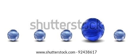 High resolution conceptual 3D row of spheres with one different standing out of the crowd, ideal for business, education or concept designs - stock photo
