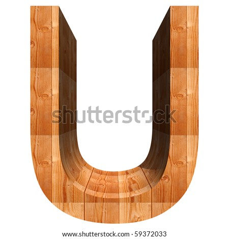 High resolution conceptual 3D wood font isolated on white background - stock photo