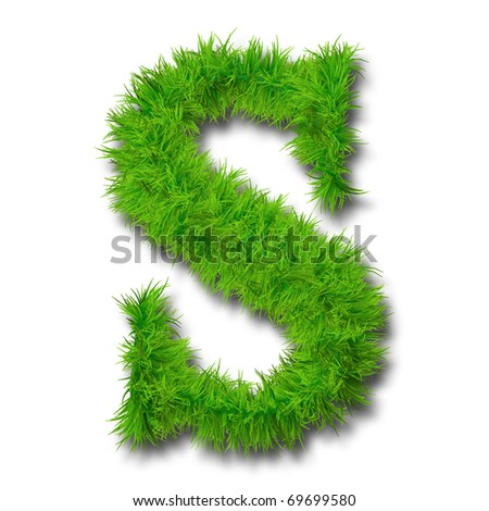 High resolution conceptual green grass font isolated o white background - stock photo