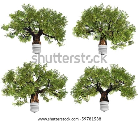 High resolution conceptual green trees as  lamps  isolated on white - stock photo