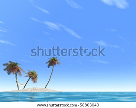 High resolution conceptual island with palm trees and a hammock in blue sea water with a blue sky - stock photo
